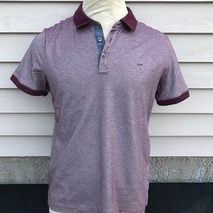 Michael Kors SzM Maroon Short Sleeve Polo Shirt